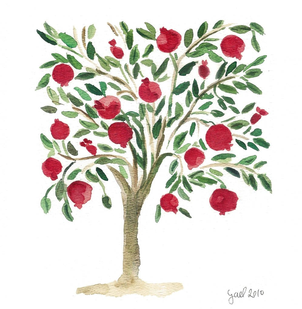 Fine Art  Print -The  Pomegranate Tree Naive folk art inspired in Red Green Bordeaux and brown limited edition