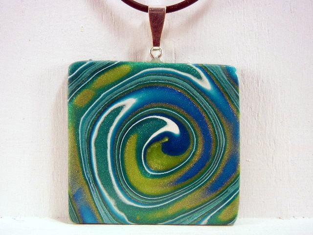 Pendant Square Blue and Green Swirl Polymer Clay - JerisJewelryBox