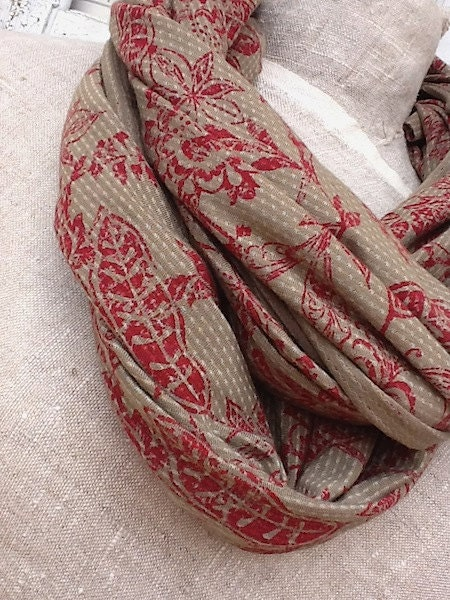 Winter Scarf, Ladies Soft Cotton Knit Loop Scarf, Soft Gray and Red Floral Print, Romance, Winter Wrap - CamillaCotton
