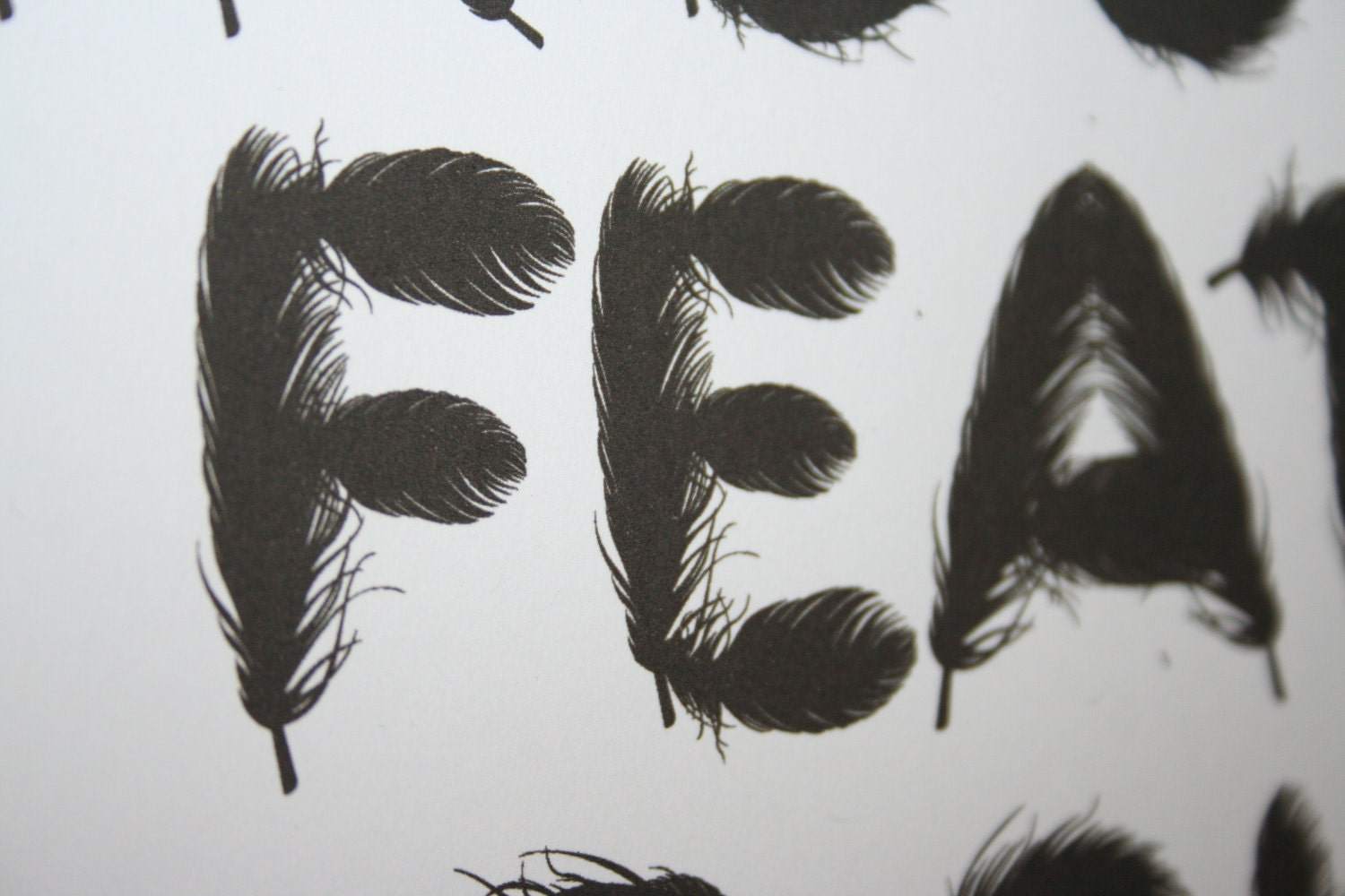 A3 'Birds of a feather flock together' Illustrative type print.
