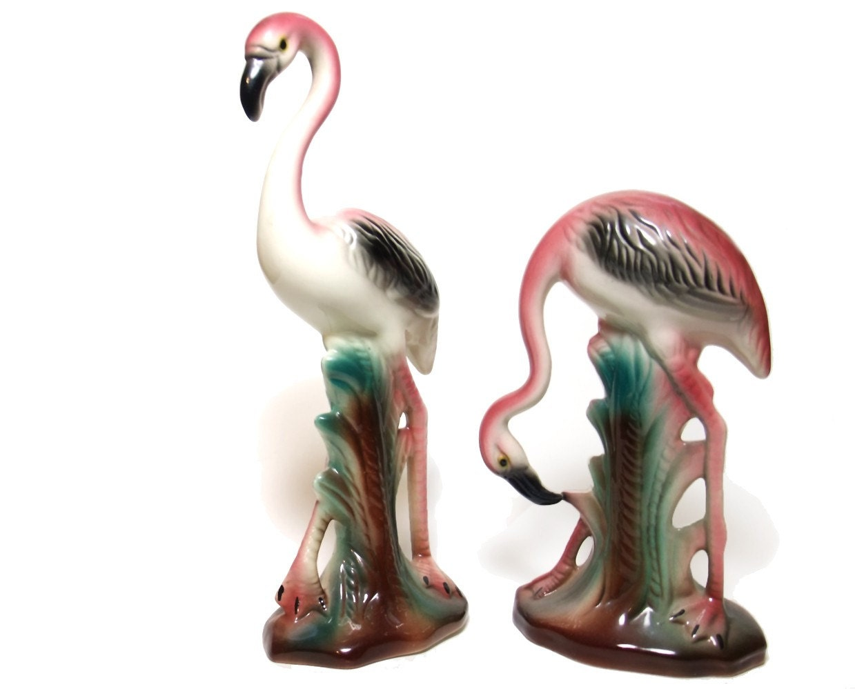 Vintage 40s Ceramic Flamingo Figurines Pink By Mysweetiepiepie