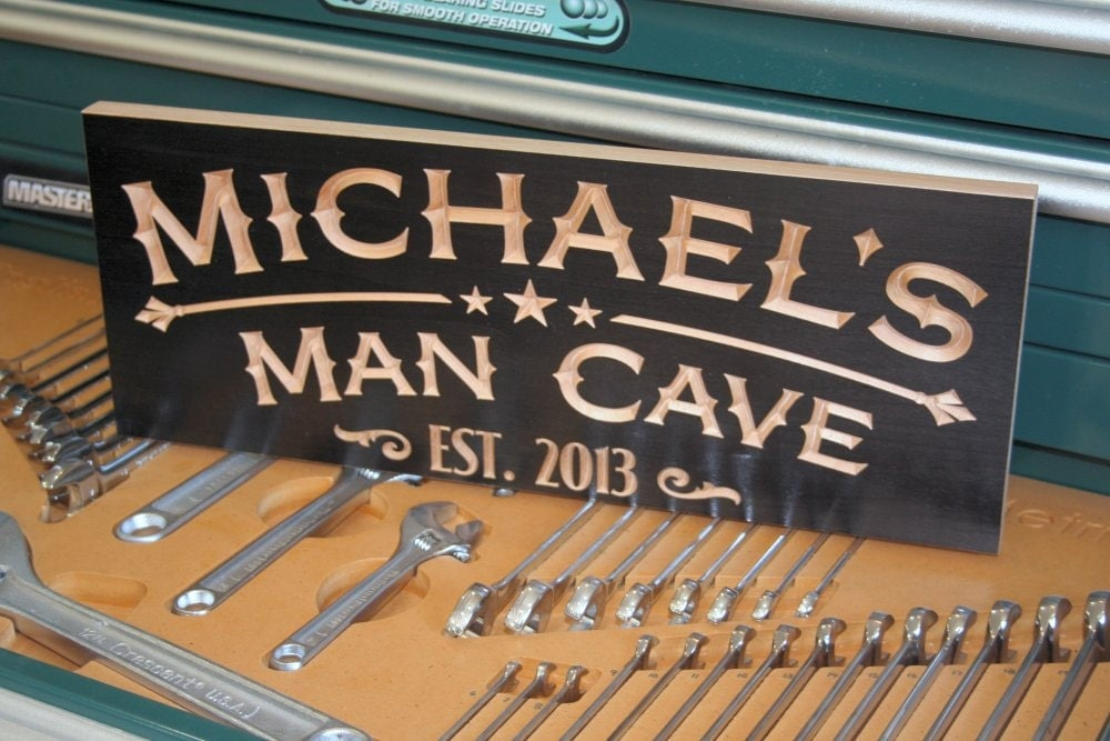 Man Cave Signs Cheap : Personalized man cave sign established by benchmarkcustomsigns