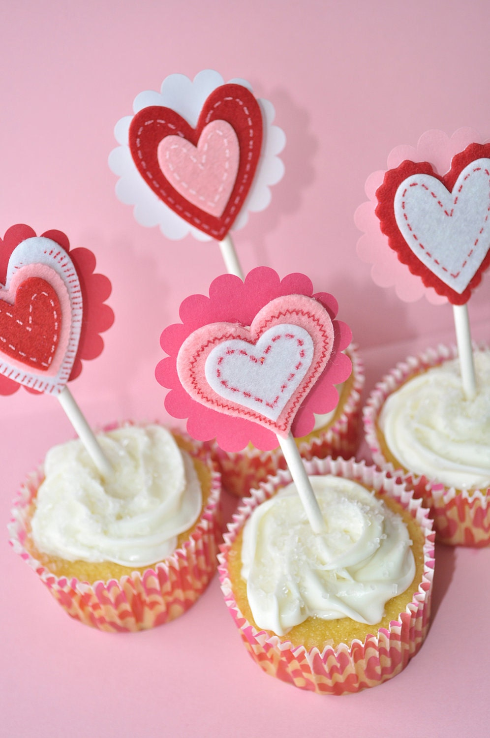 12 Heart Cupcake Toppers Valentine's Day by sosweetpartyshop