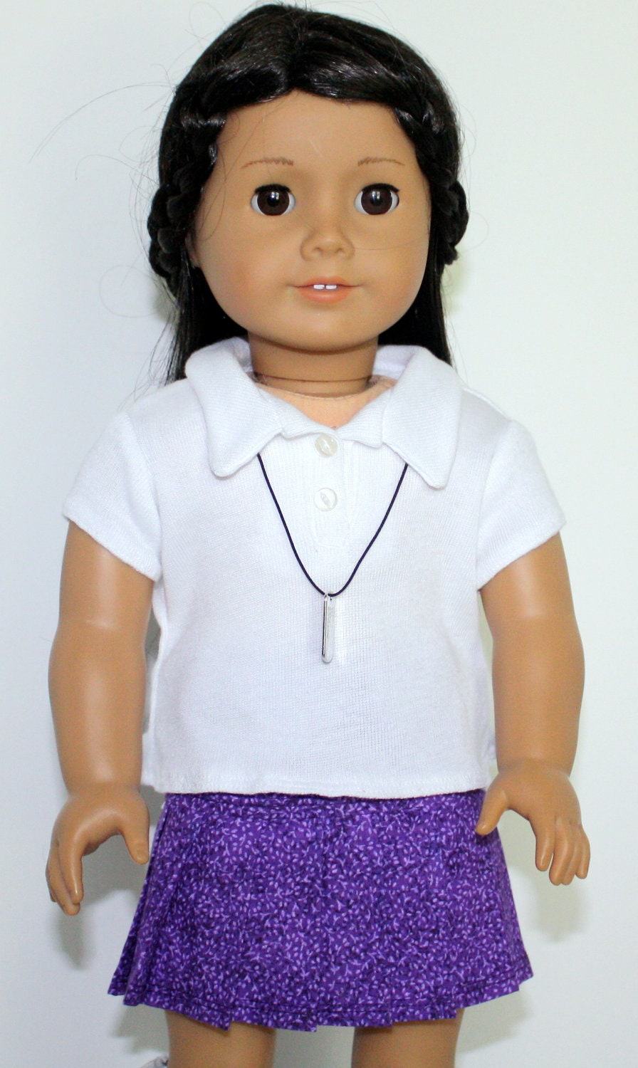 American Girl Doll White Knit Polo Shirt Purple Print Pleated Skirt  Charm Necklace - JessieAmerica