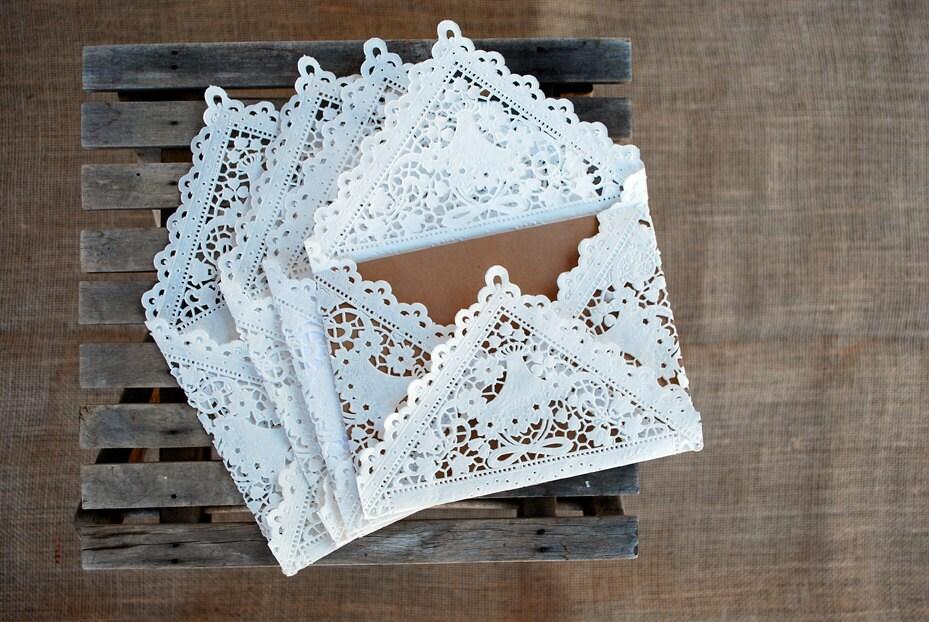 10 Lace Paper Envelopes - LuminaLace
