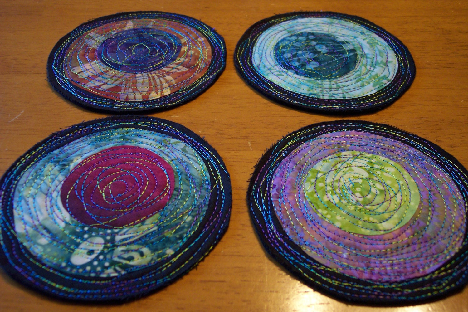 Modern Fabric Coasters Batik Fabric On Black Quilted By