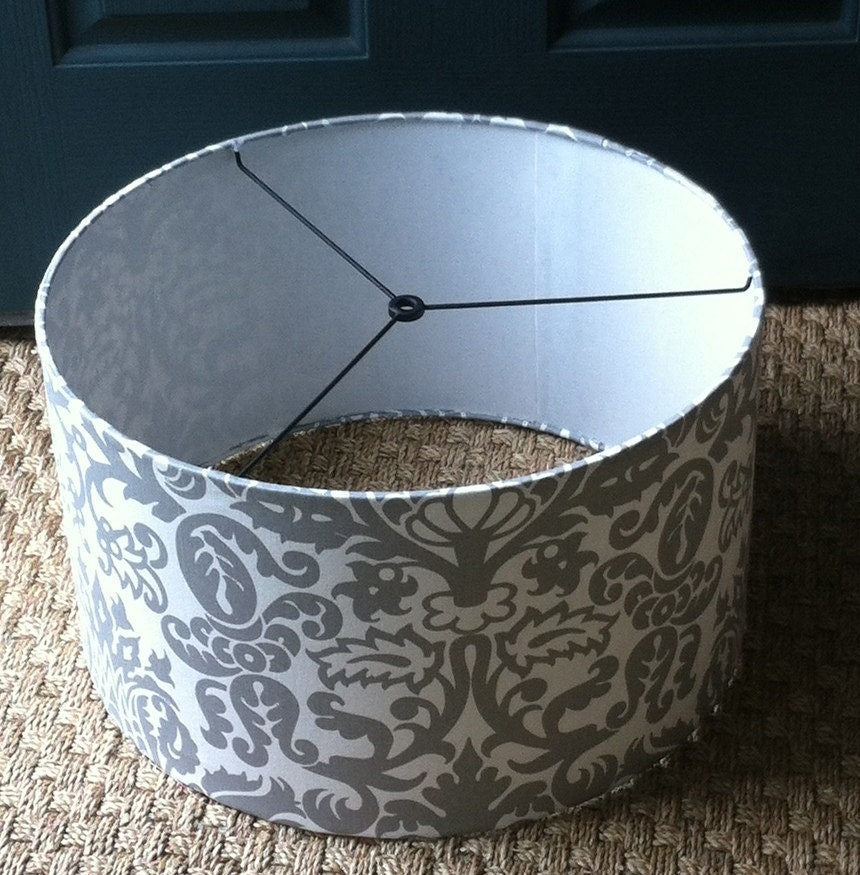 large drum lamp shade or pendant light shade 17 x 10 silver gre. Black Bedroom Furniture Sets. Home Design Ideas