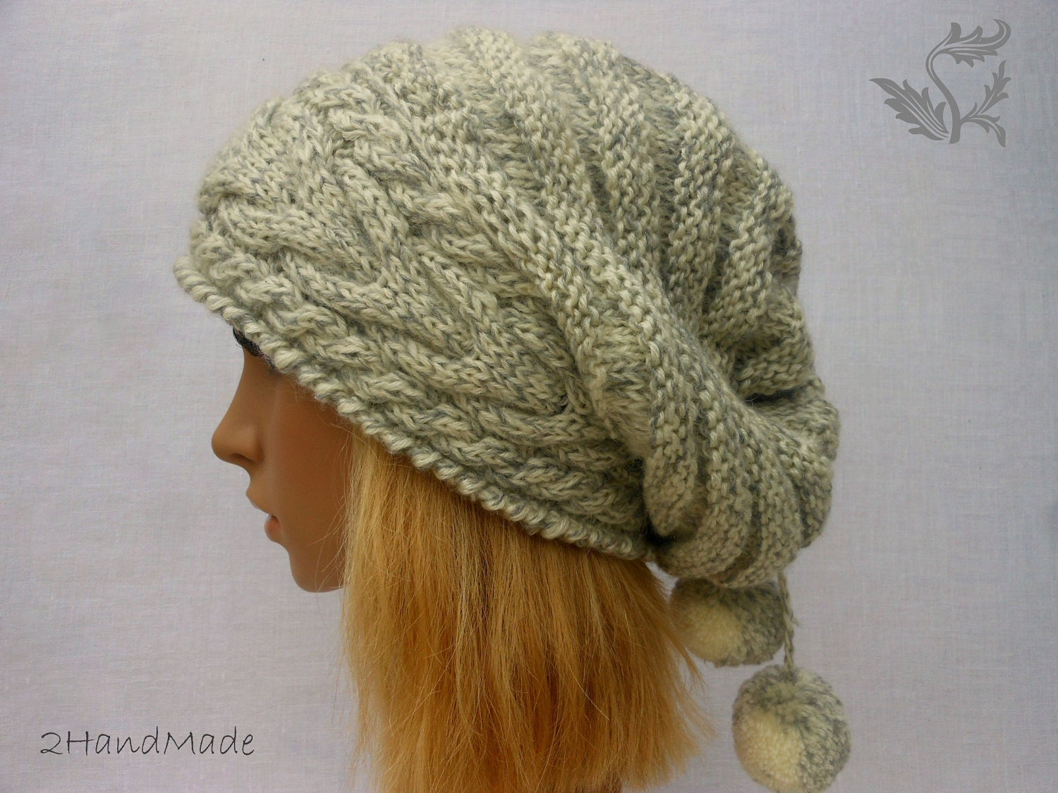 Oversized Beret Knitting Pattern : Knit hat Oversized Beret neck warmer ivory grey by 2HandMade