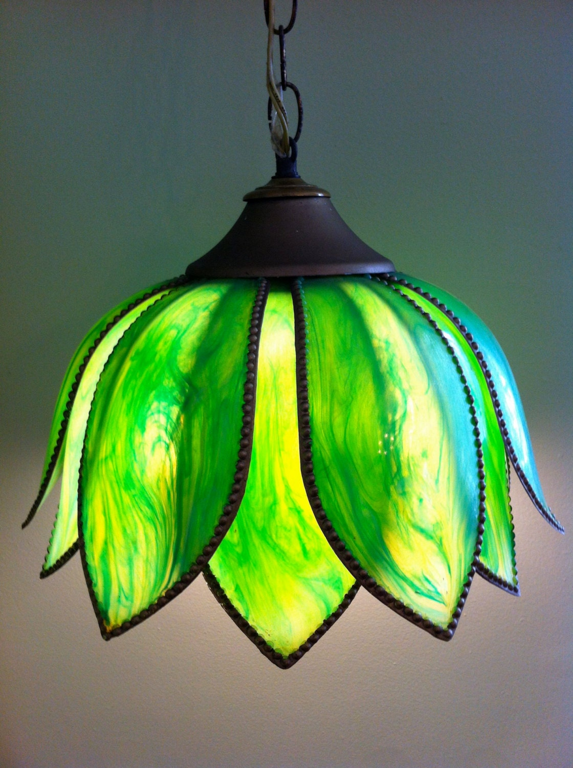 Vintage green lotus flower tulip hanging light fixture pendant