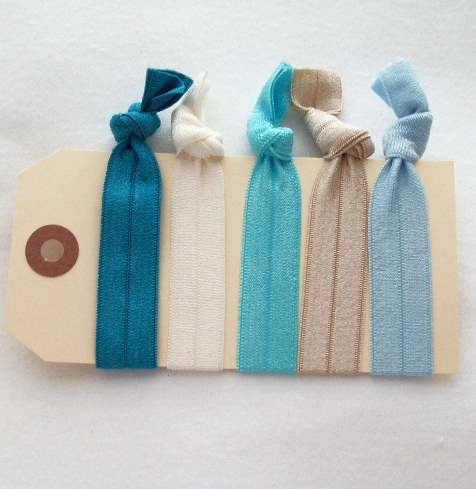 elastic hair ties sand and sea hair accessories set of 5