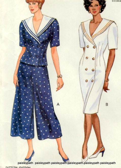 Large Plus Sizes 90sDress Top and Split Skirt Sewing Pattern Ladies - paisleypath