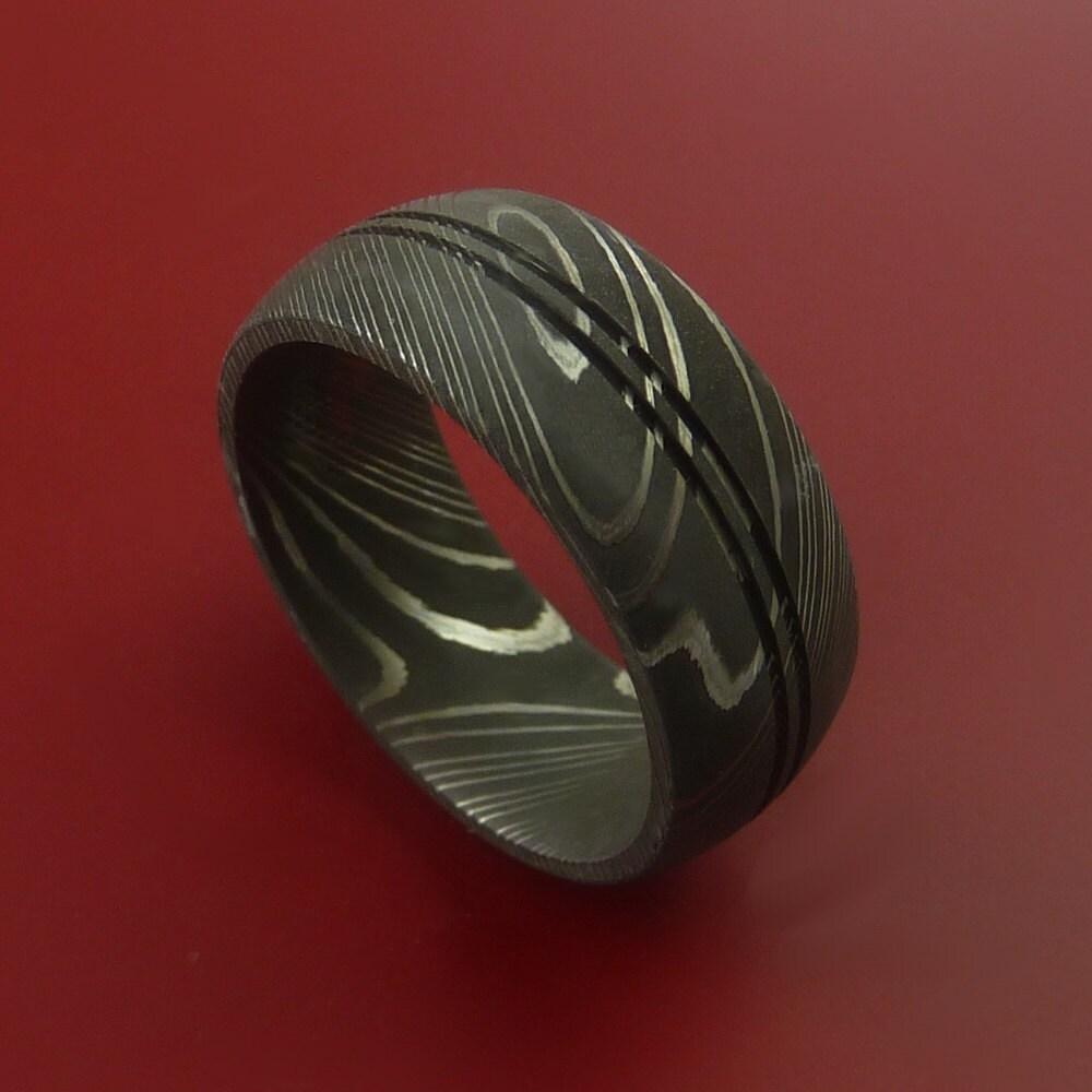 Damascus Steel Ring Wedding Band Genuine By StonebrookJewelry
