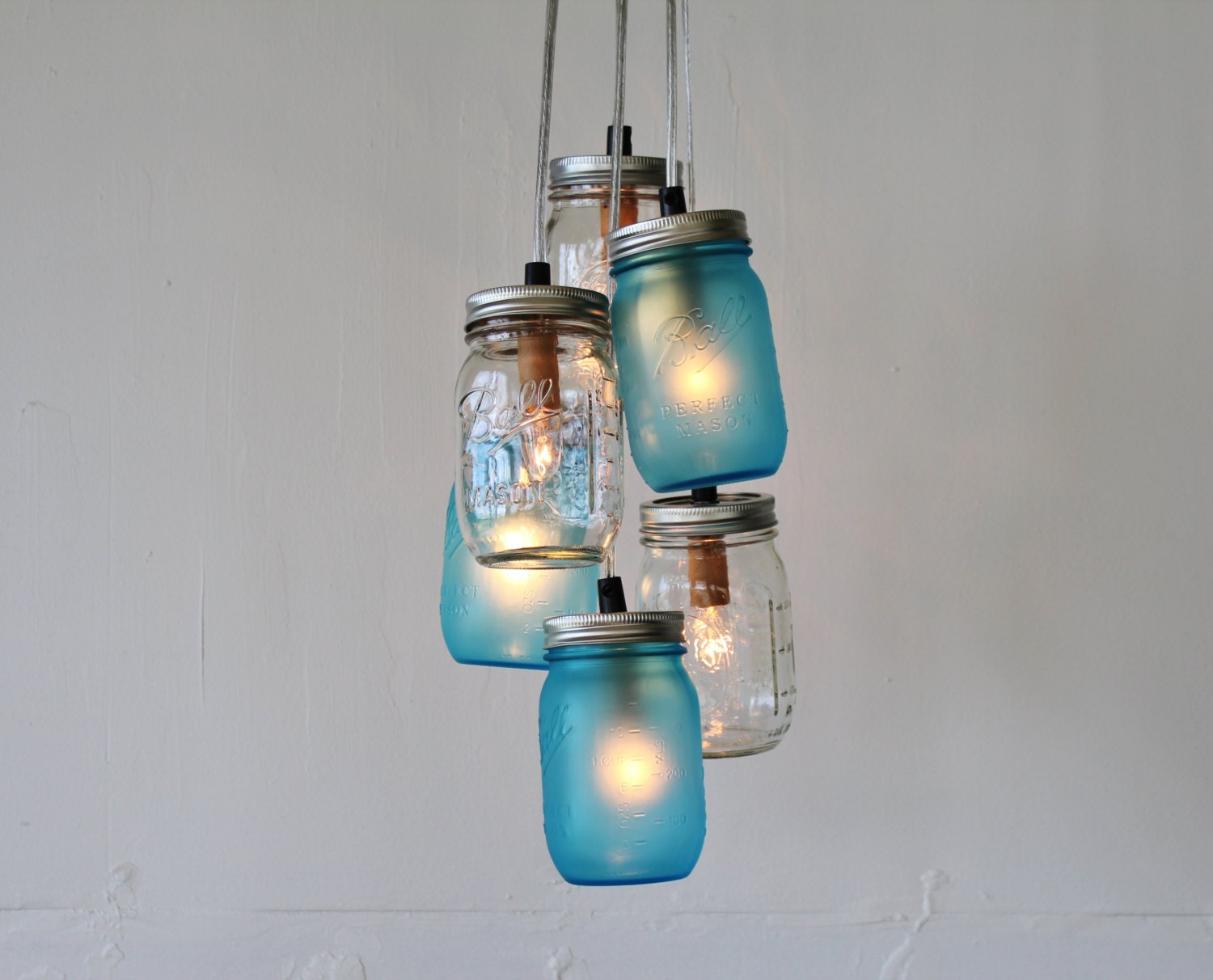 Lake Fog Mason Jar Chandelier Featuring 3 Frosted Blue & 3 Clear Jars - Direct Hardwire Hanging Lighting Fixture - BootsNGus Lamps - BootsNGus