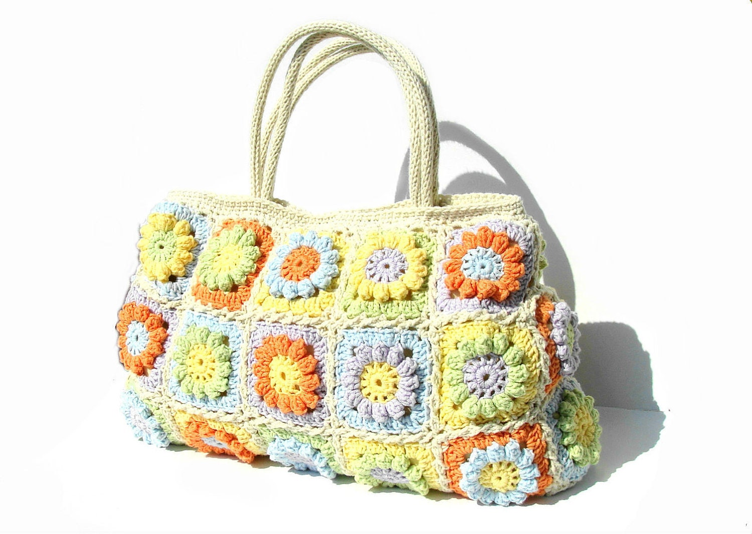 Flower crochet handbag, crochet bag in bright summer colors