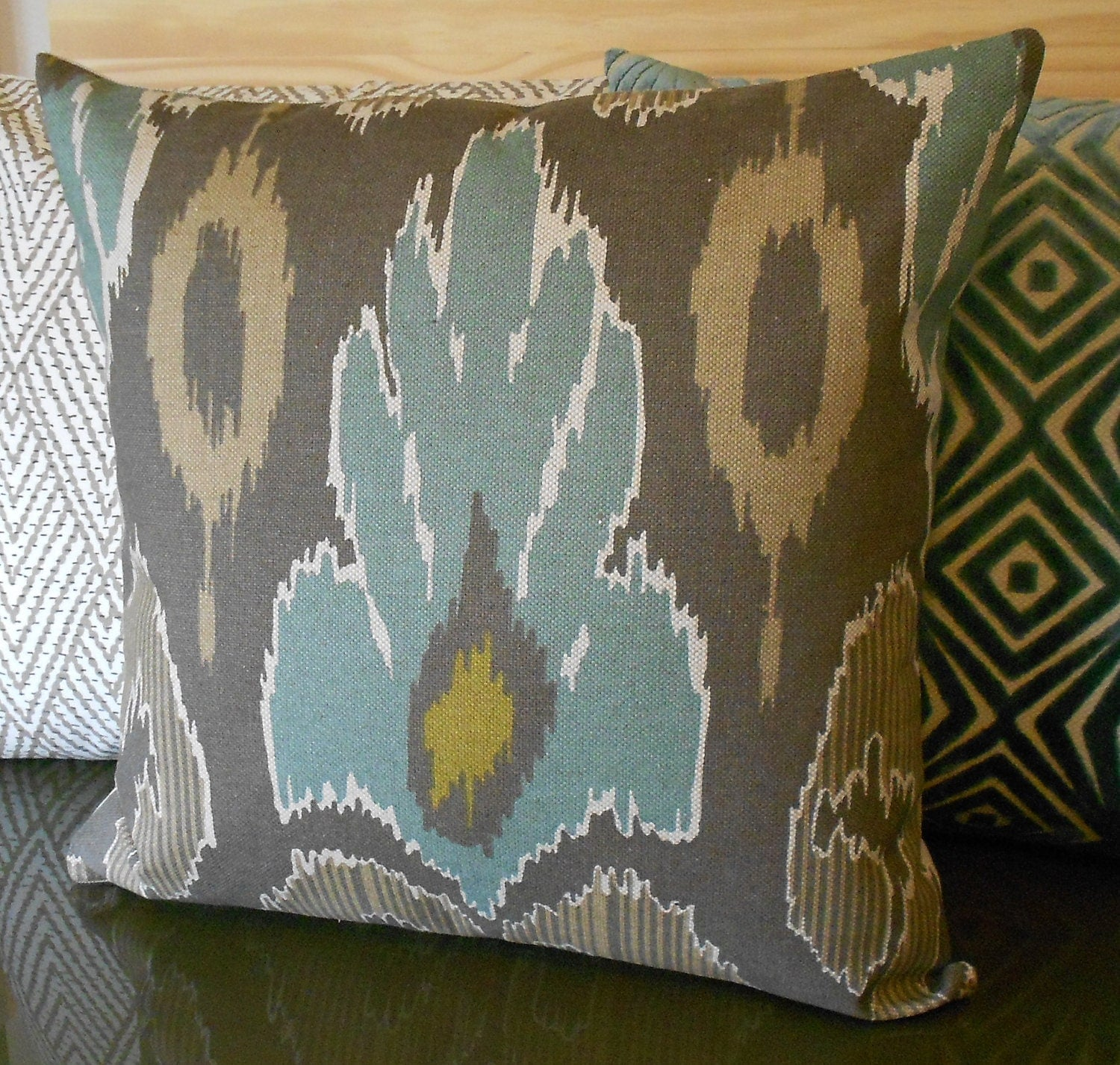 Brown Throw Pillows Etsy : Ikat decorative pillow cover spa teal blue by pillowflightpdx