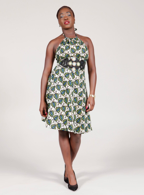 Halterneck dress short  African wax Green  blue leaves size 12
