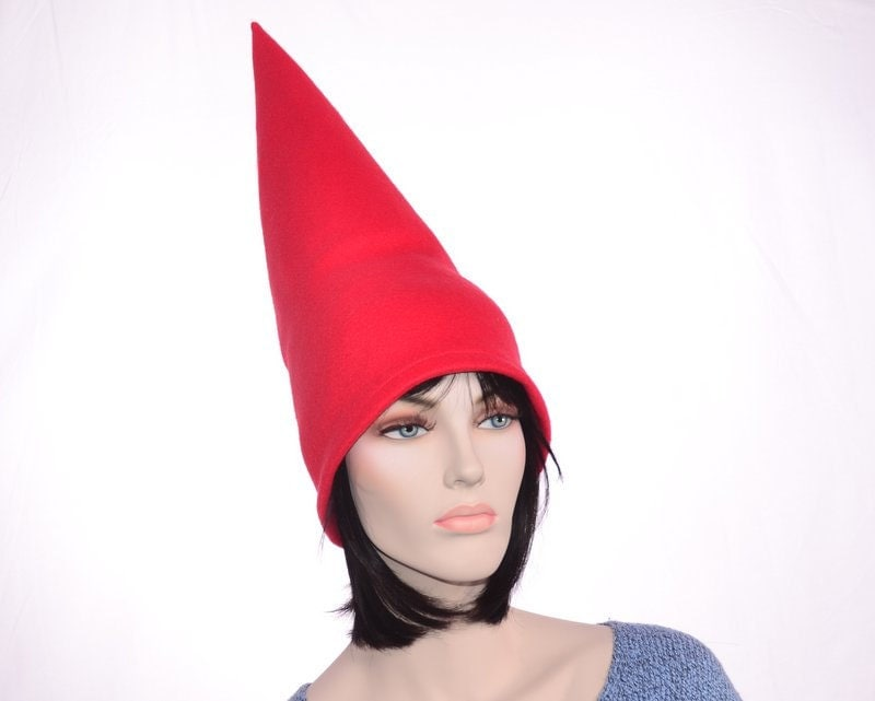 Red Gnome Hat Extra Tall Cap Fleece Men Women Tall Pointed Hat Costume Party Hat - MountainGoth