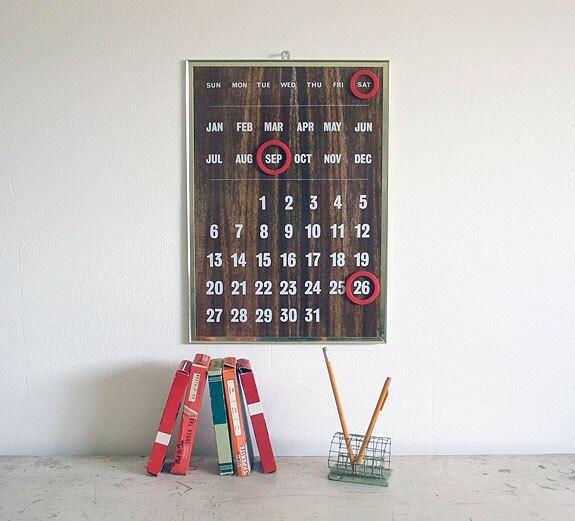 Vintage faux bois perpetual wall calendar by robertagrove on etsy - Wooden perpetual wall calendar ...