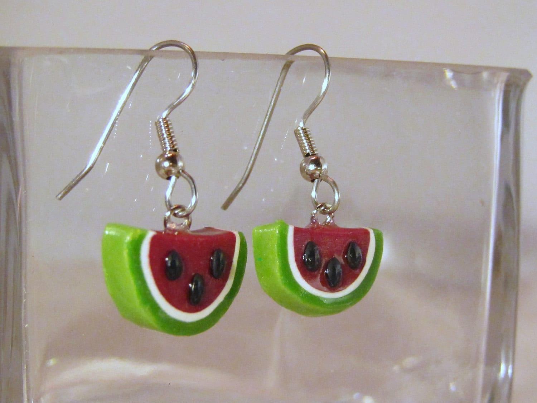 Watermelon Polymer Clay Earrings - JerisJewelryBox
