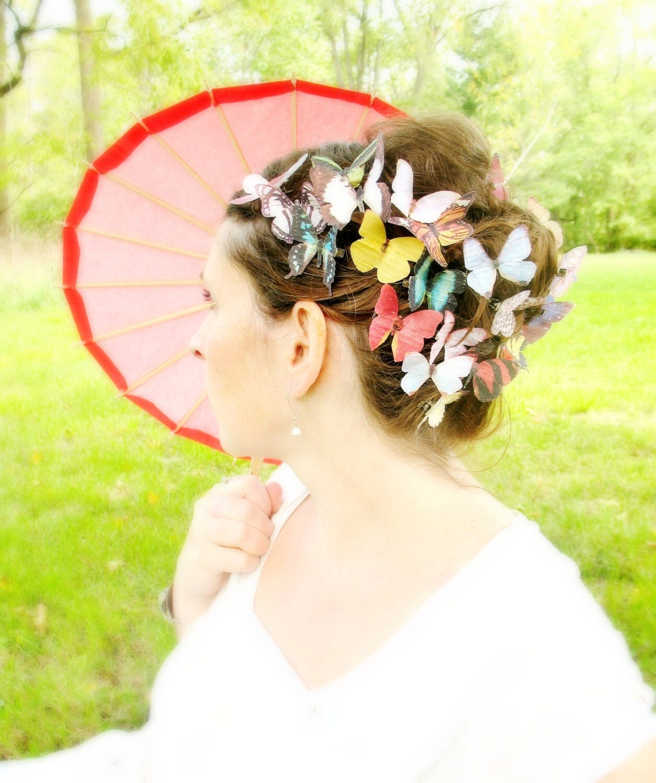 TEN handmade silk butterfly hair clips . the butterfly house . your choice