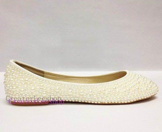 Women Flat Shoes Ivory Bridal Flat Pearl Shoes By CreatorLeeshop