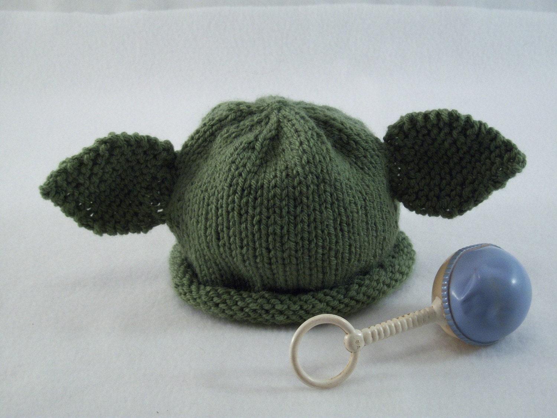 Yoda Baby Hat Knitting Pattern : Baby Yoda Hat by nightngayle on Etsy