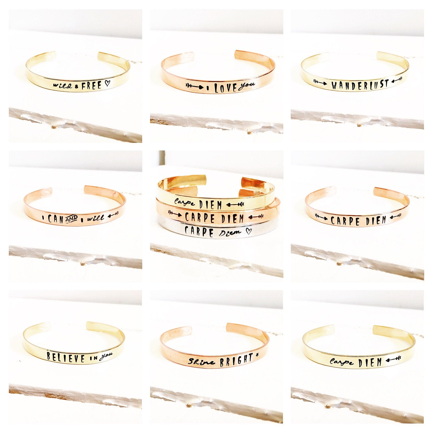 Womens Gift  Gift ideas for Her  Personalized Cuff Bracelet  Quote Bracelet  Carpe Diem  Rose Gold Bracelet  Gold Bracelet (C135)