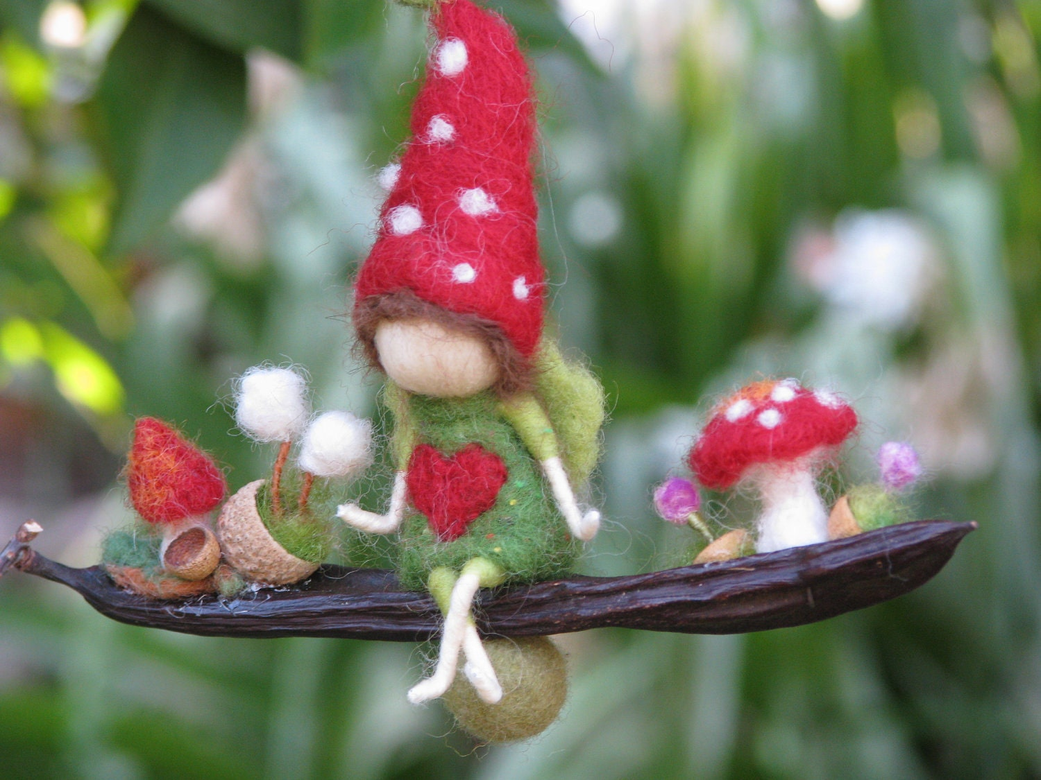 Needle felted little magic garden - waldorf inspired
