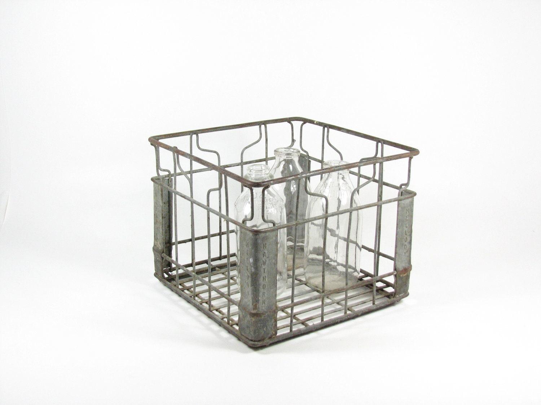 vintage metal dairy crate milk crate mellody by