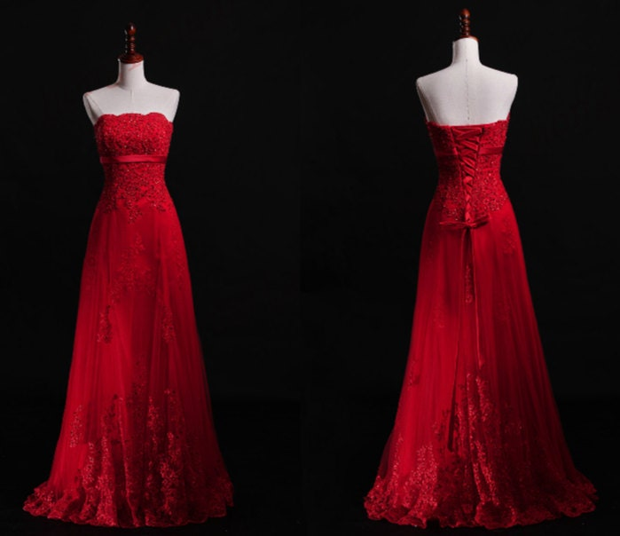 Red lace wedding dresses the image kid for All red wedding dresses