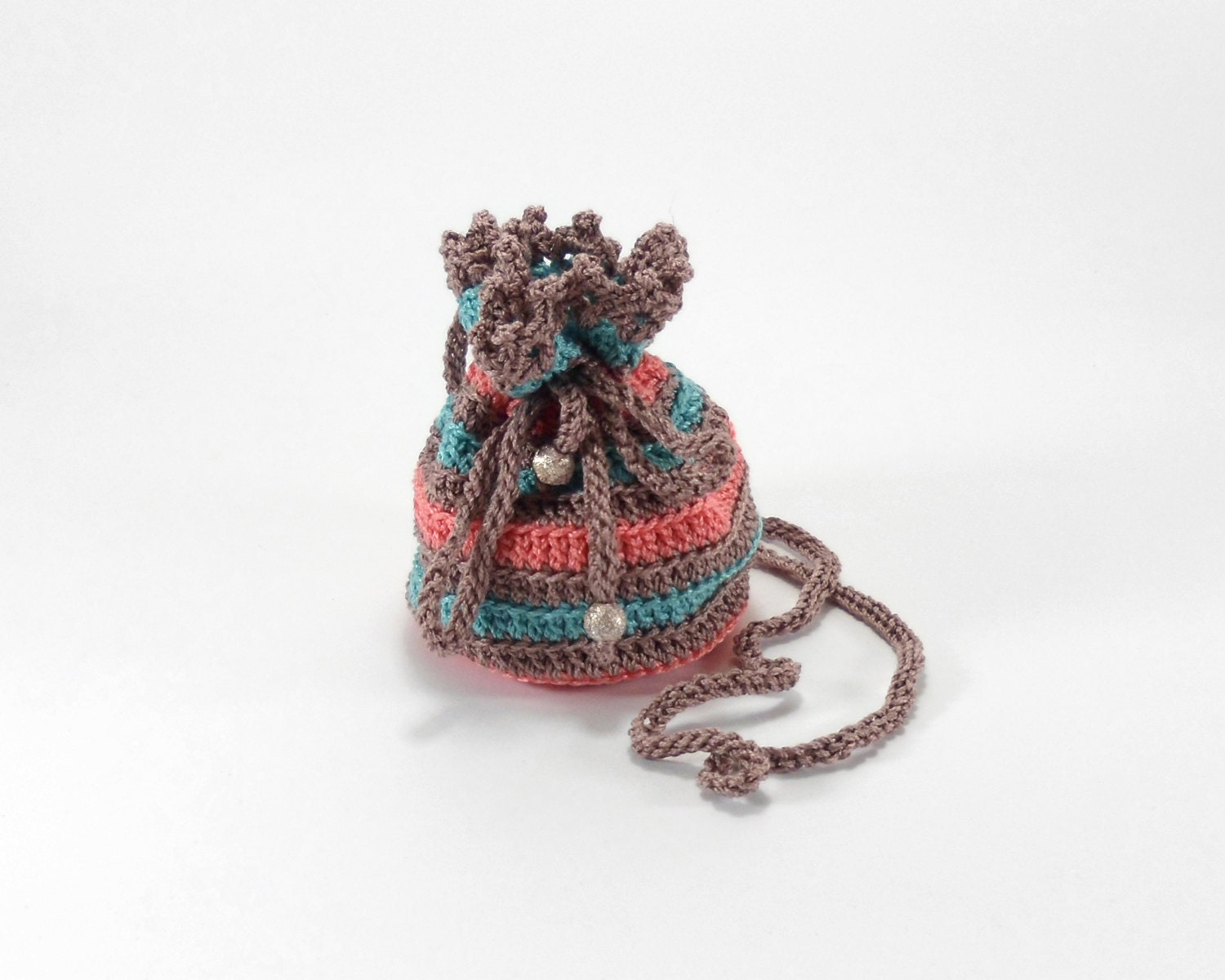 Crochet Small Bag : ... Small Crochet Pouch, Jewelry Bag with Drawstring, Christmas Gift Bag