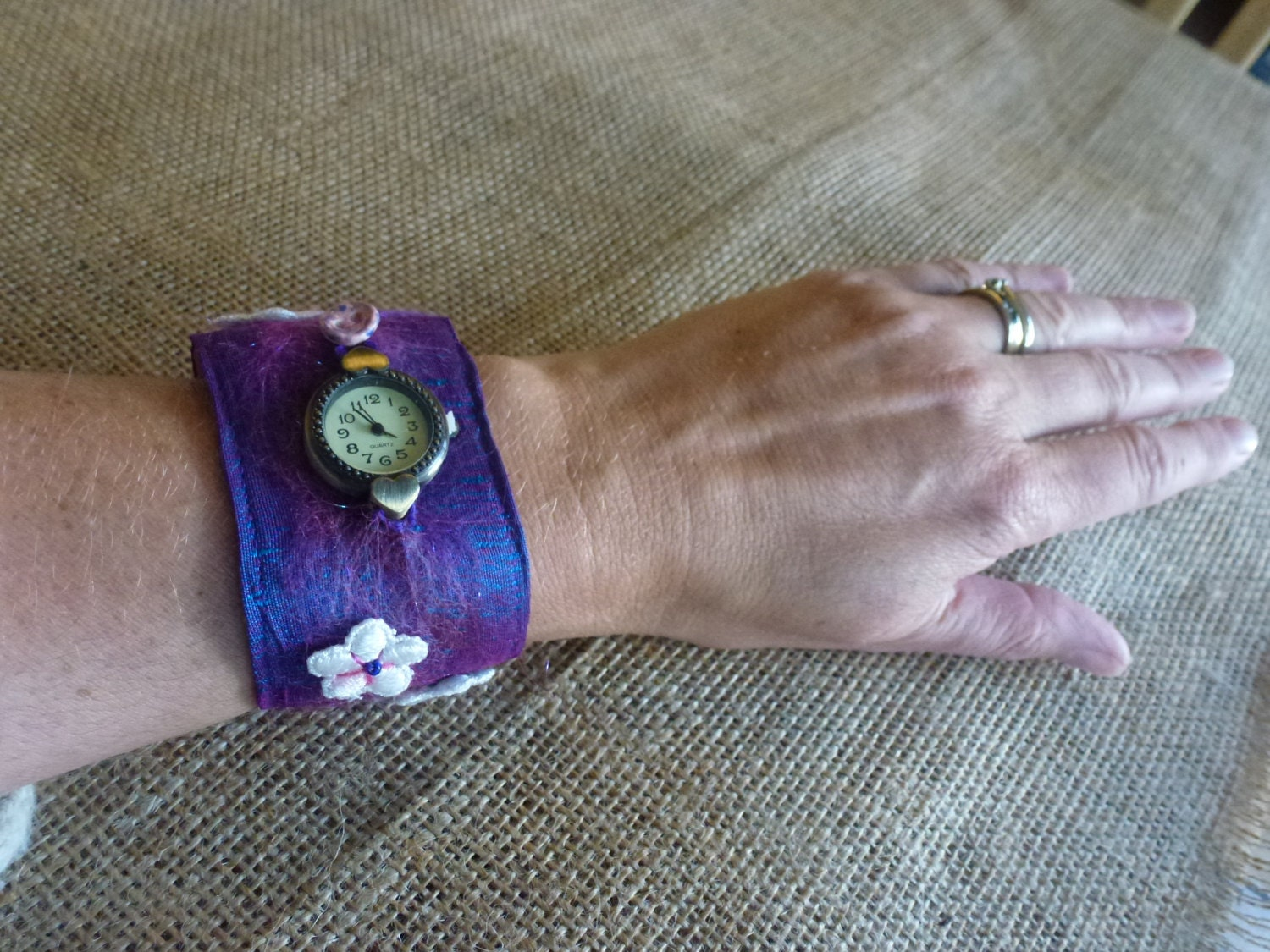 Ladies Leather wristwatch made with silk felted merino wool and silk topping lace and beads ideal for metal allergy