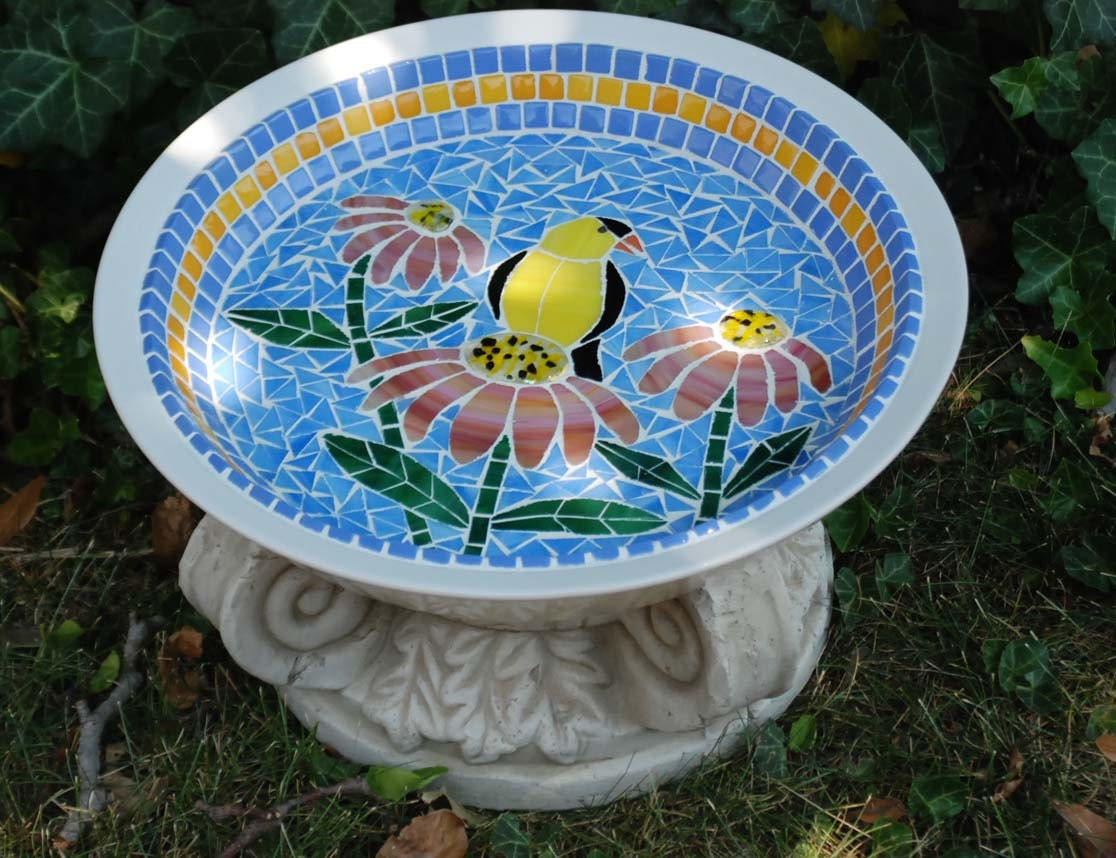 Bird Bath Stained Glass Mosaic Goldfinch And By