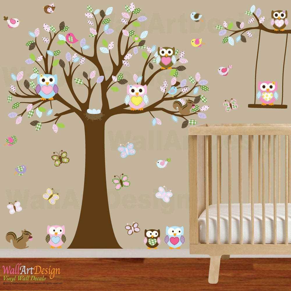 vinyl wall owl tree decal nursery wall stickers colorful tree
