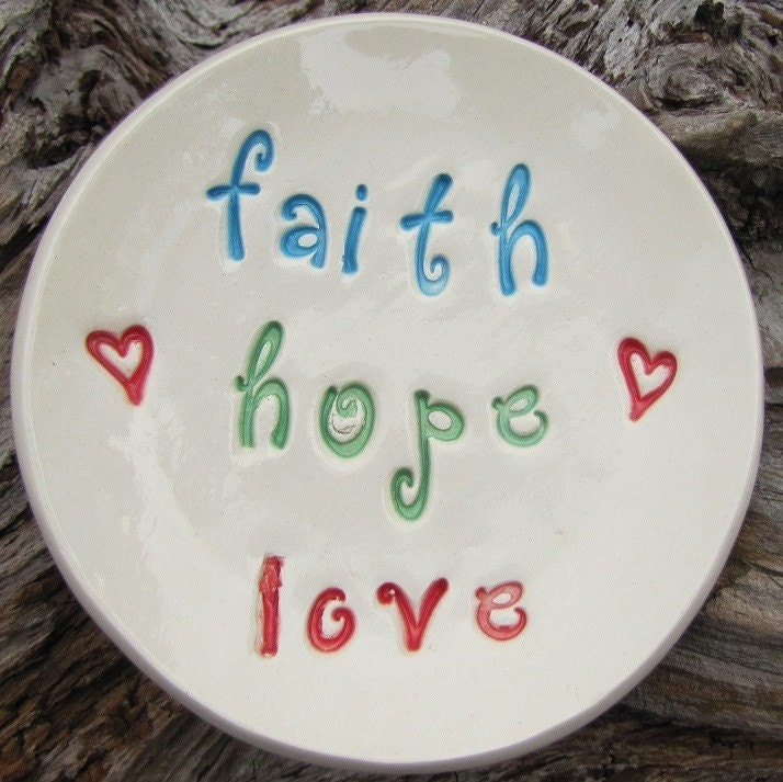 faith hope love hand formed ceramic trinket dish