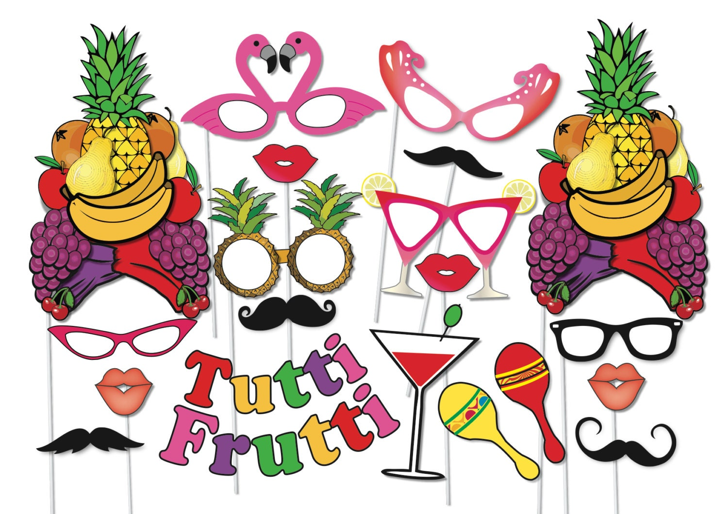 Cocktail Party Photo Booth Props Set  Piece Printable Fruit Hat