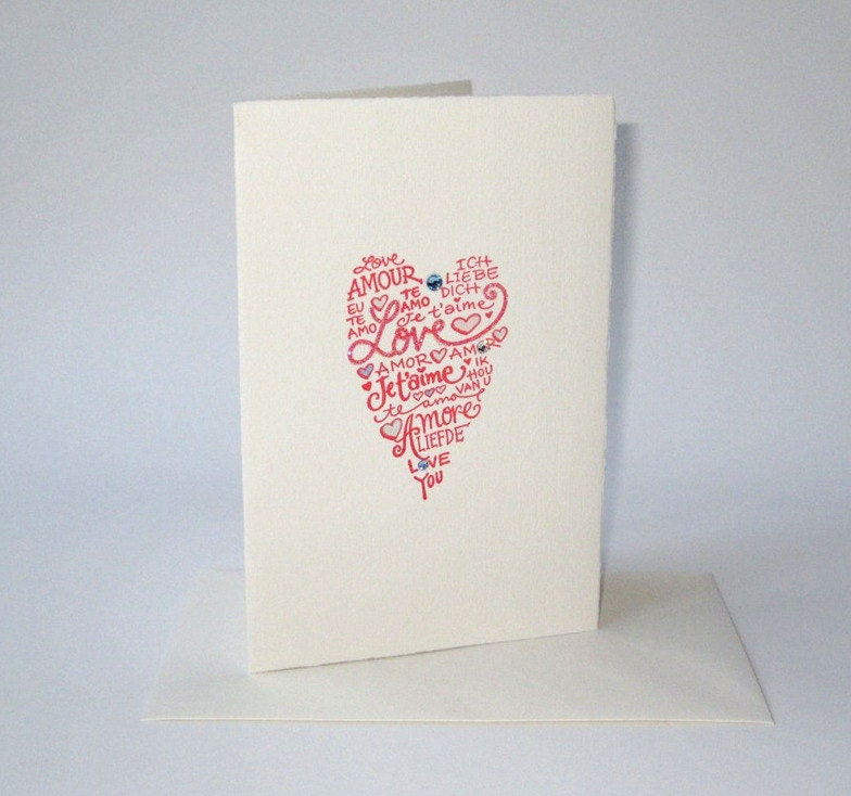 Red love heart card ... a touch of luxury for all your special occasions