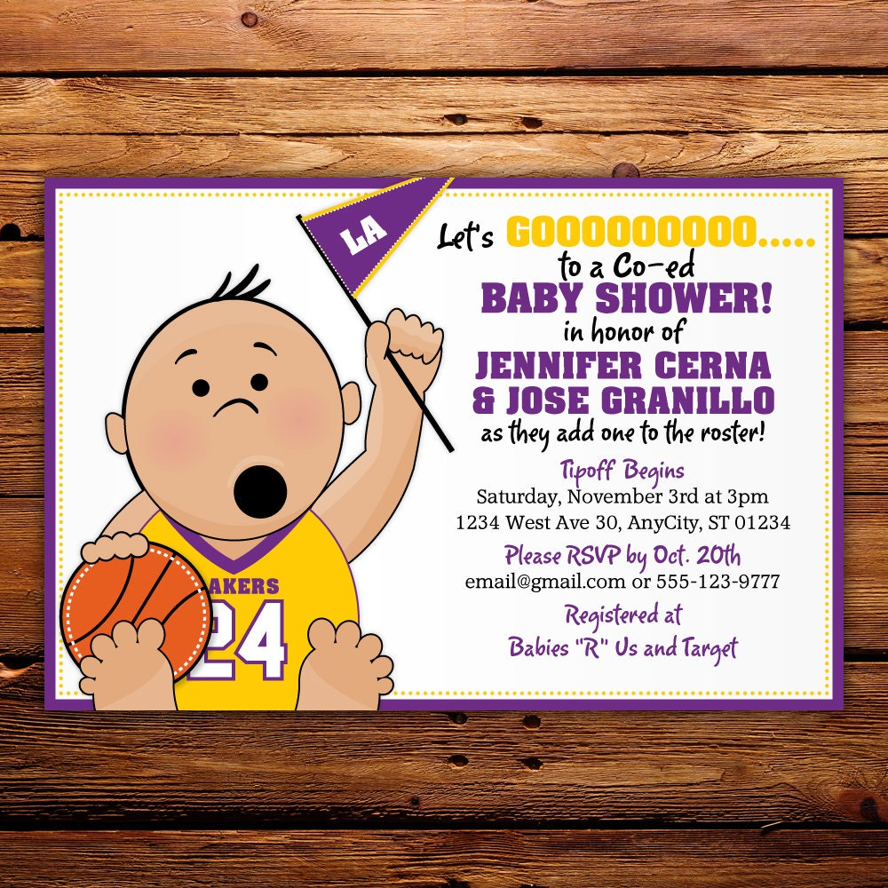 basketball tailgate sports baby shower invitation any team