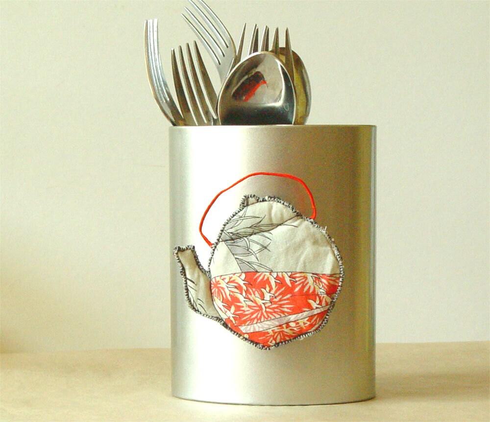 TEXTILE MAGNET, Quilted Teapot, Kitchen Decoration, Japanese Tea