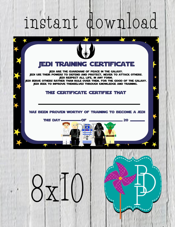 Star Wars Jedi Training Certificate 8x10-instant download ...