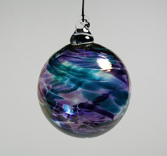 Hand Blown Glass Christmas Tree Ornaments : Hand blown glass christmas ornament amethyst by