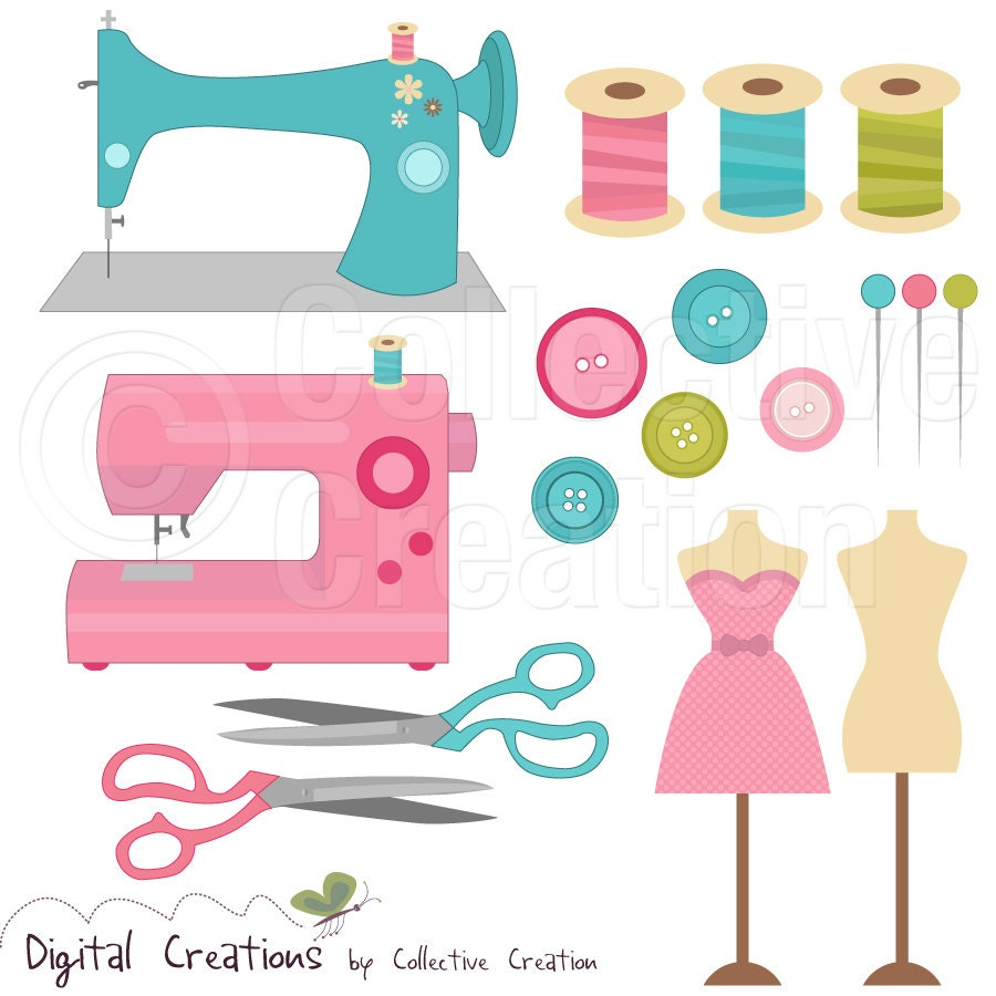 Gallery for vintage sewing notions clipart for Sewing materials