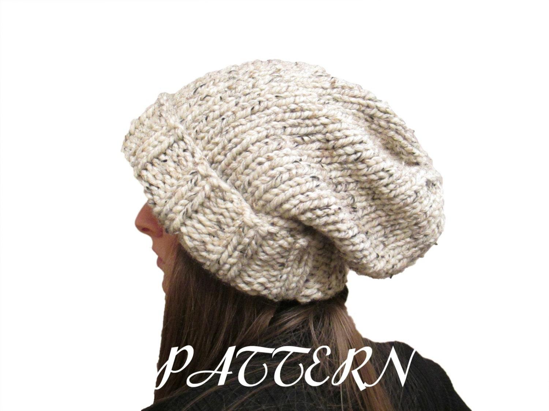 Knit Slouchy Hat Pattern Bulky Yarn : WISDOM Slouchy Hat Knitting Pattern Womans Knit by ...