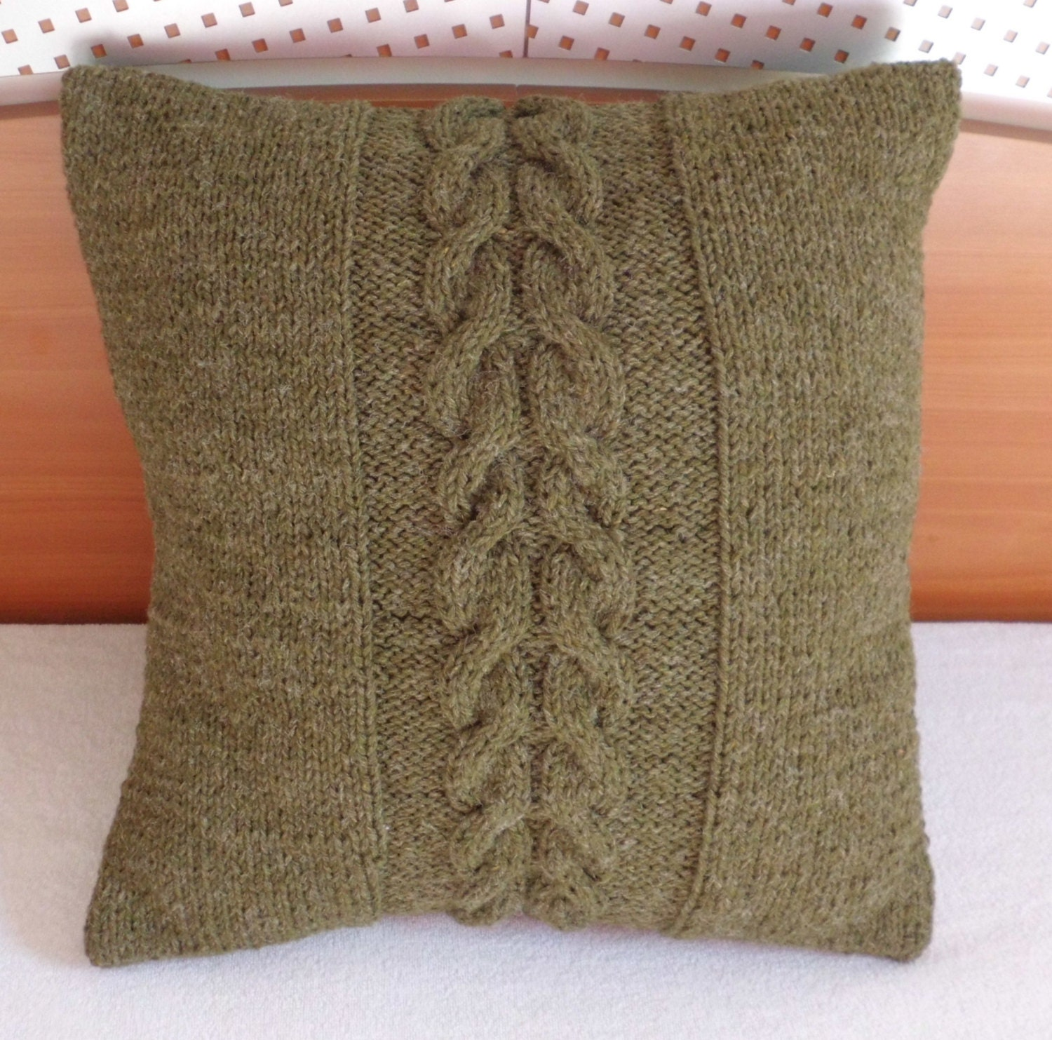 Olive 14x14 hand knitted cushion brown knit couch by Adorablewares
