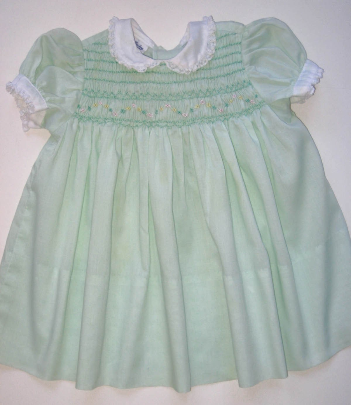 Vintage Polly Flinders Hand Smocked Baby Dress 18 By