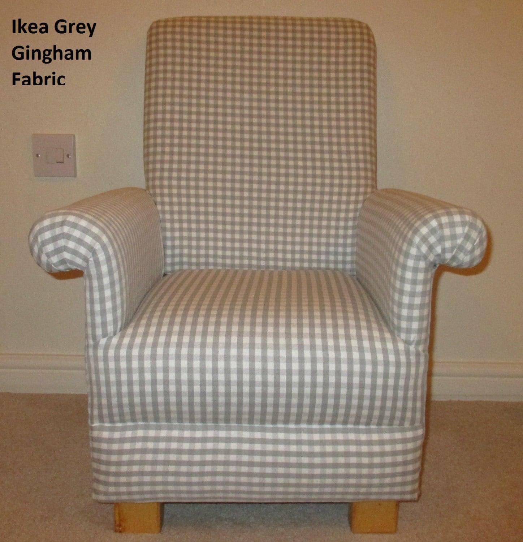 Ikea Grey Gingham Fabric Childs Chair Check Nursery Bedroom Handmade British Handcrafted