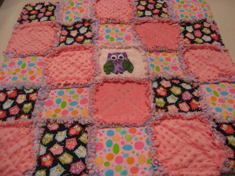 Rag Quilt Owl Pattern : Baby Girl Retro Owl Rag Quilt Blanket by farmernurse on Etsy