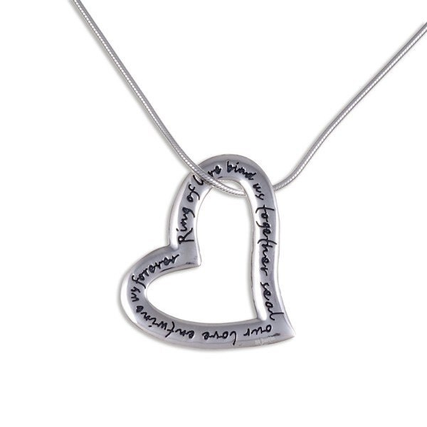 925 Sterling Silver English Heart Love Valentine pendant with 18 inch Chain  Made in UK