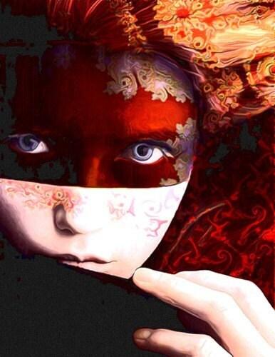 Woman Portrait, 5x7 Giclee Print, Woman Portrait, Portrait, Photomontage, Collage, Rudy Red, Crimson, Mask, Home Decor - ImagineStudio