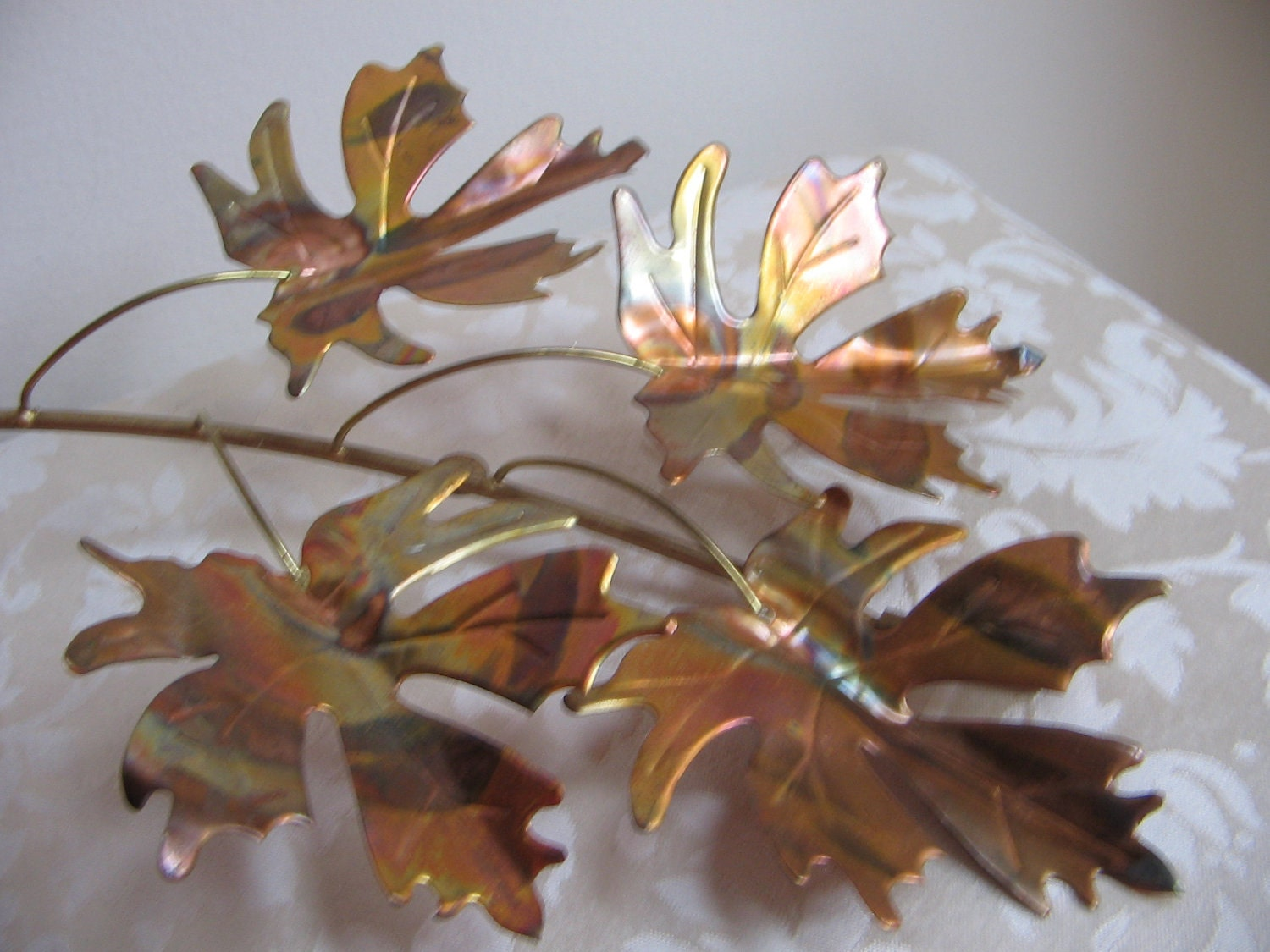 Vintage metal leaves wall art copper brass by for Metal leaf wall art